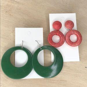 Vintage circular earrings, 2 pairs, dangle hoops